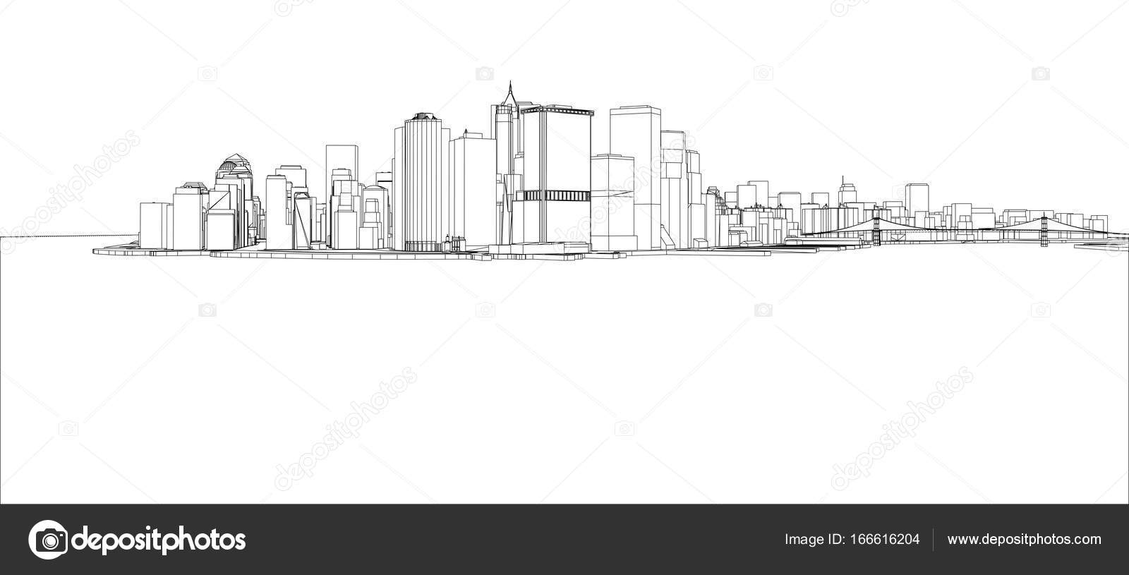 Wire-frame New York City, Blueprint Style — Stock Vector © cherezoff ...