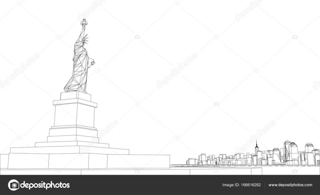 Marco del alambre de New York City, modelo estilo — Archivo Imágenes ...