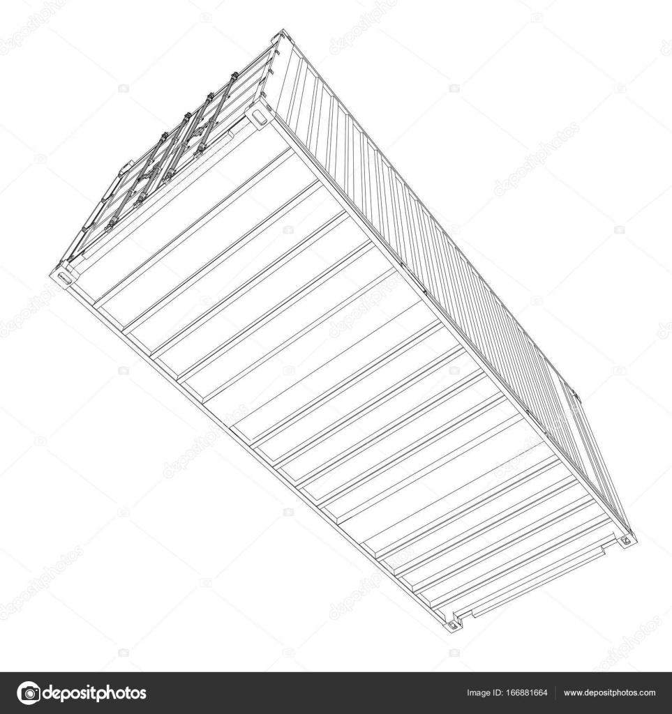 Contenedor de carga. Estilo de marco de alambre — Archivo Imágenes ...
