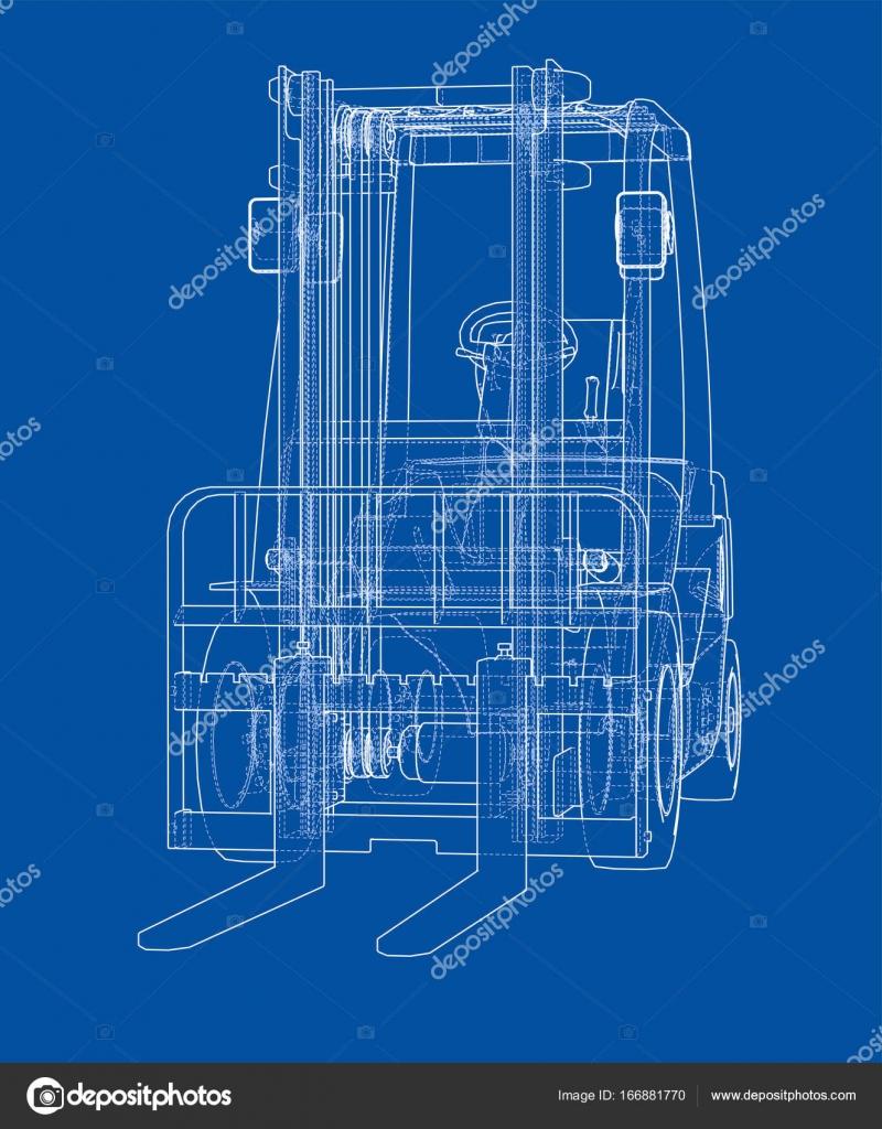 Concepto de la carretilla elevadora. Vector de — Archivo Imágenes ...