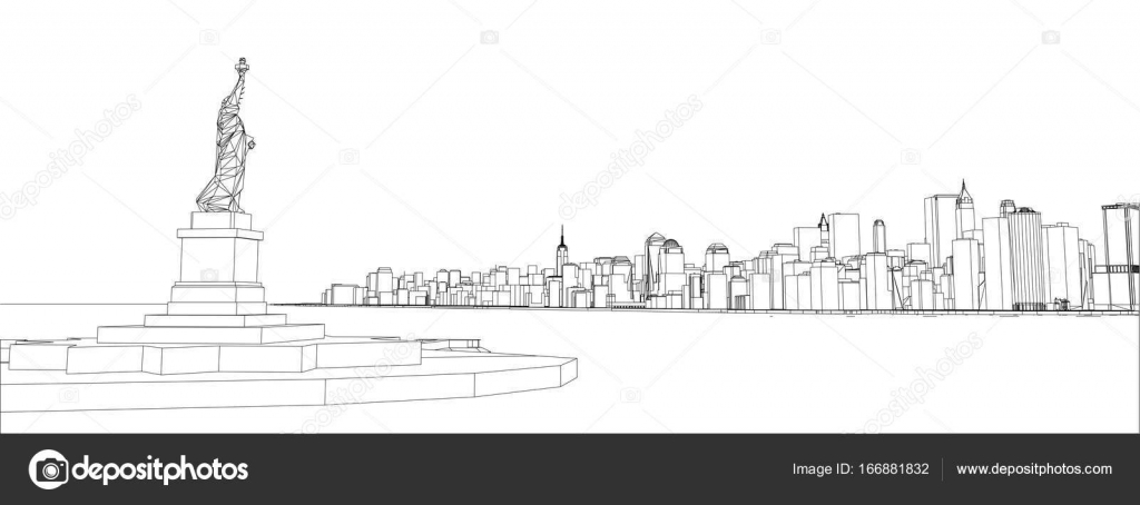 Wire frame new york city blueprint style stock vector wire frame new york city blueprint style 3d rendering vector illustration architecture design background vector by cherezoff malvernweather Gallery