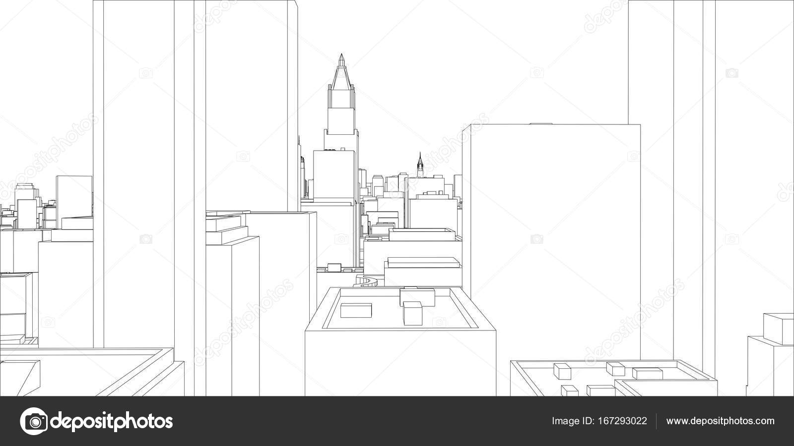 Wire frame new york city blueprint style stock vector cherezoff wire frame new york city blueprint style 3d rendering vector illustration architecture design background vector by cherezoff malvernweather Image collections