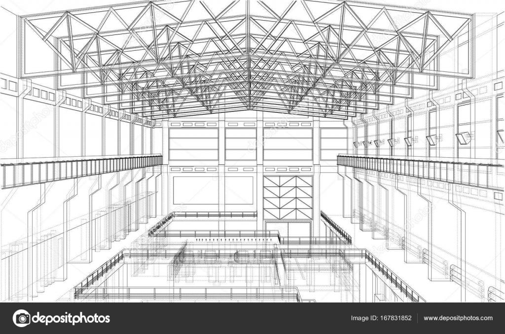 Warehouse sketch. Vector — Stock Vector © cherezoff #167831852