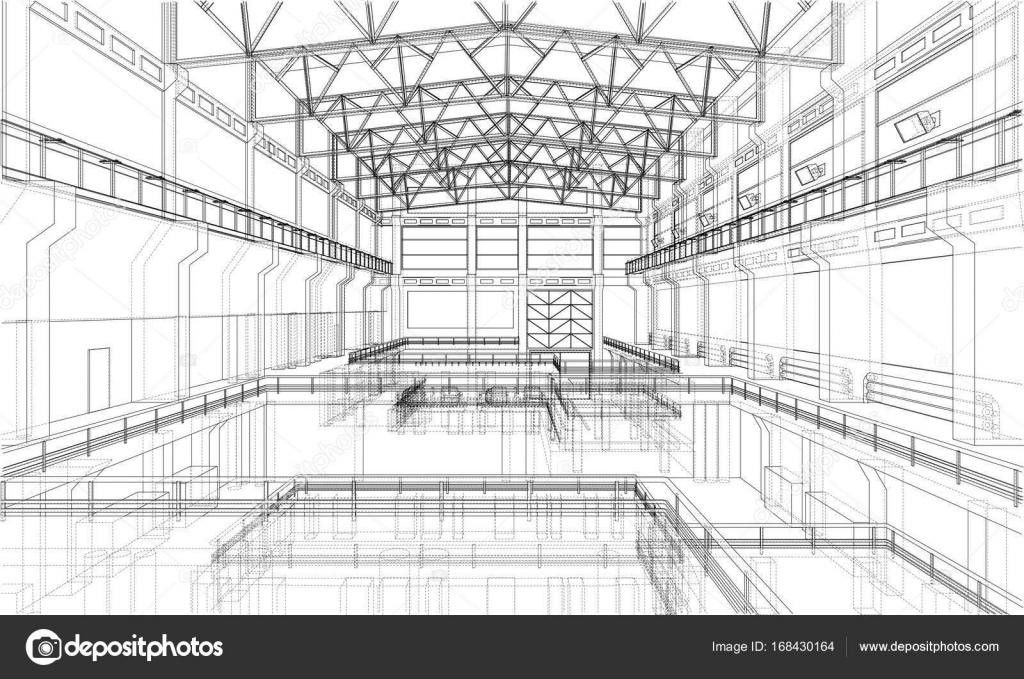 Warehouse sketch. Vector — Stock Vector © cherezoff #168430164
