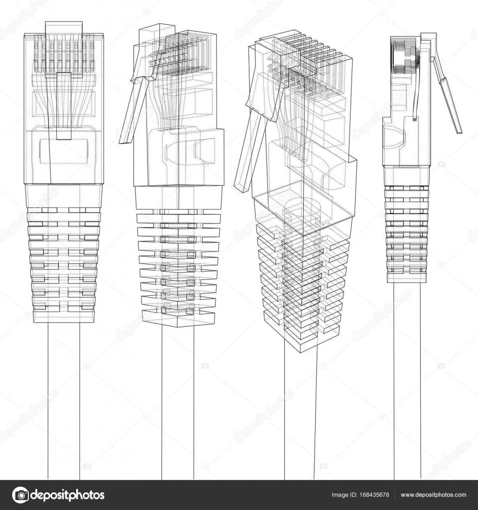 Conector Ethernet Rj45. el Vector — Archivo Imágenes Vectoriales ...