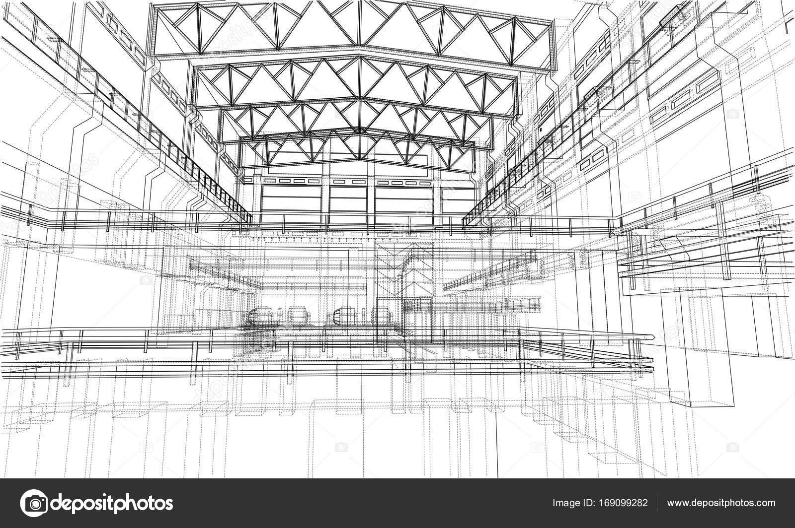 Warehouse sketch. Vector — Stock Vector © cherezoff #169099282