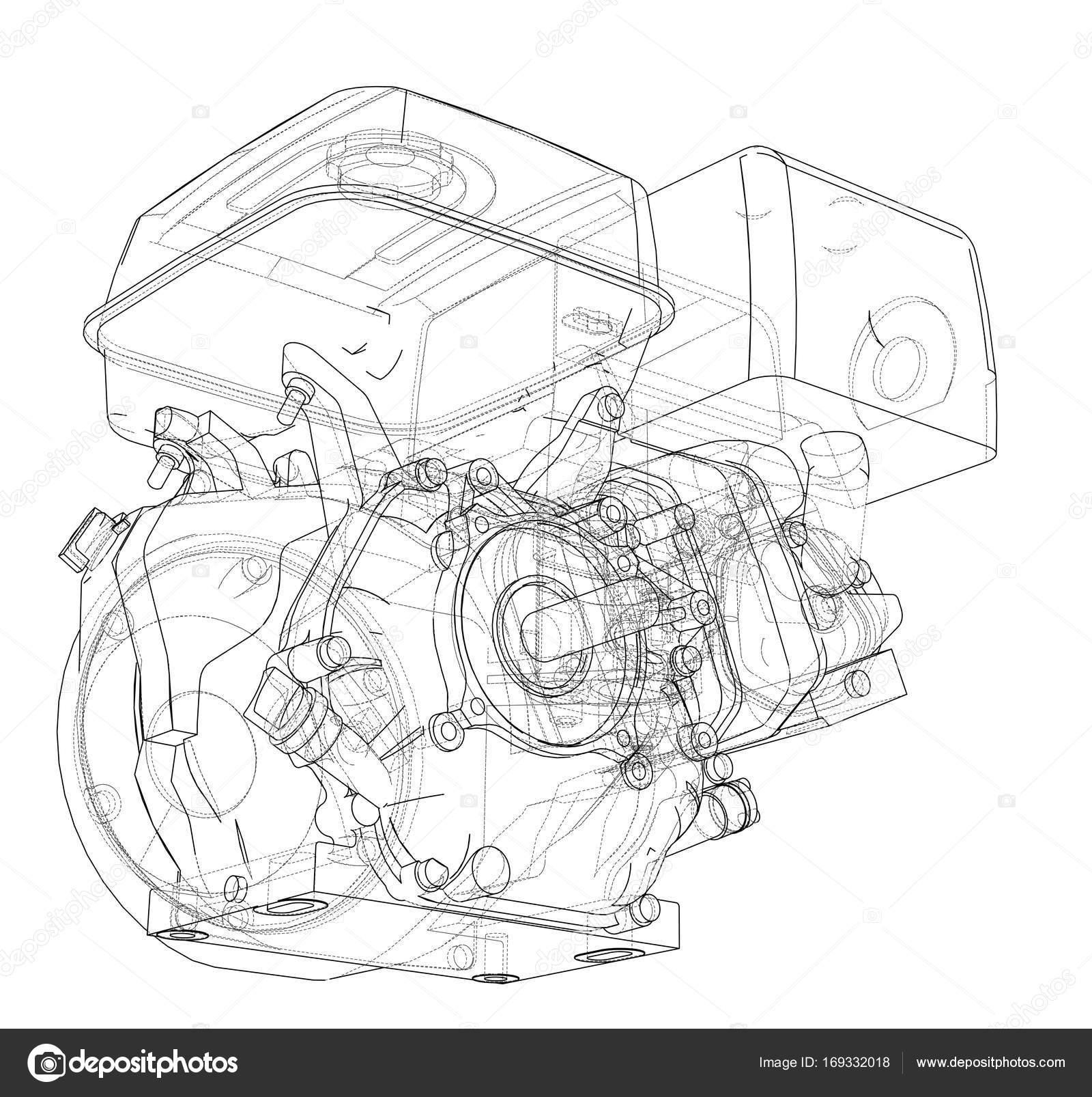 Motor-Skizze. Vektor — Stockvektor © cherezoff #169332018