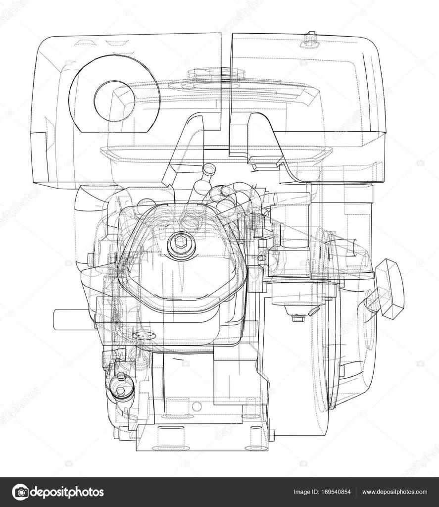 Motor-Skizze. Vektor — Stockvektor © cherezoff #169540854