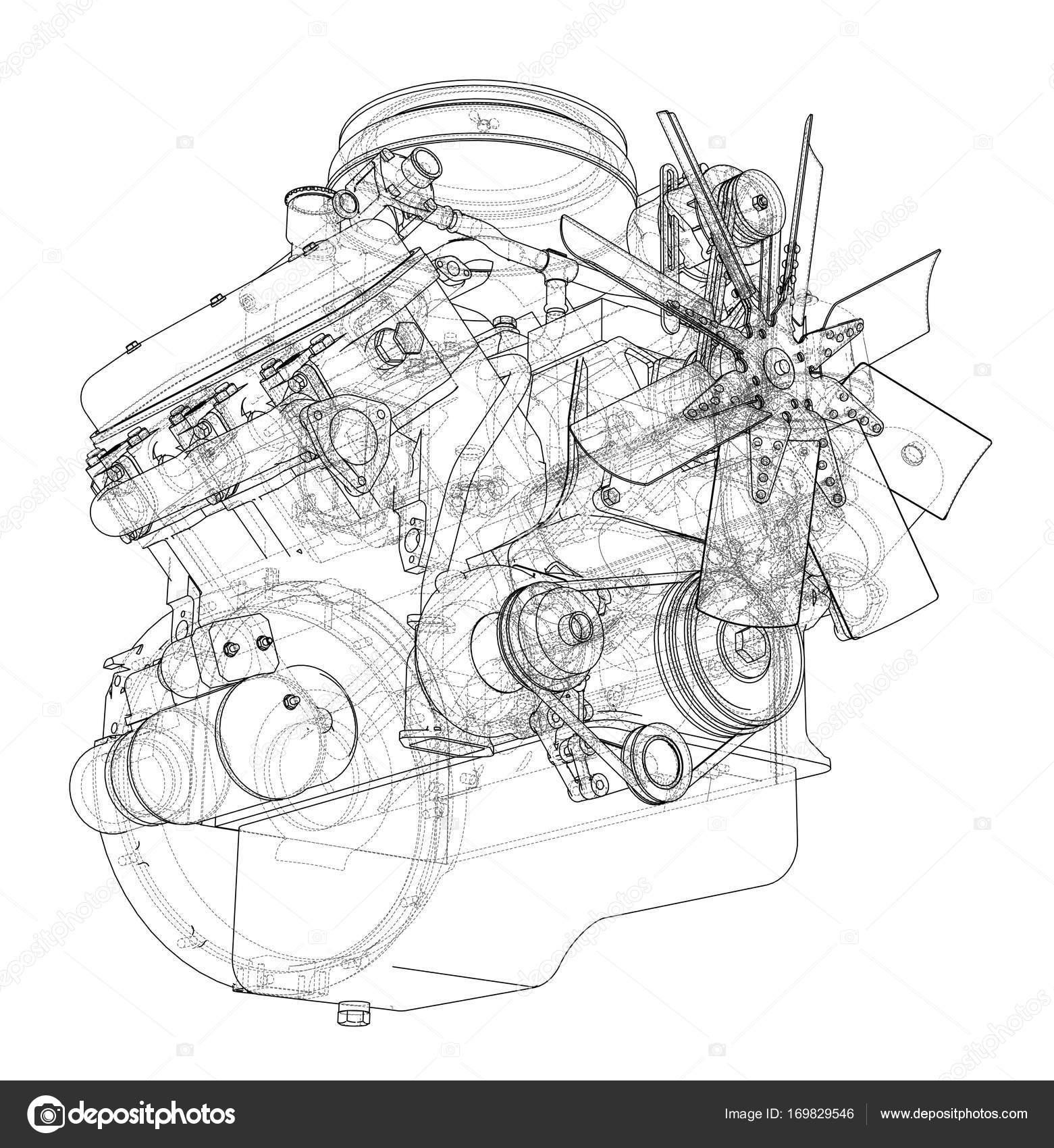 Motor-Skizze. Vektor — Stockvektor © cherezoff #169829546