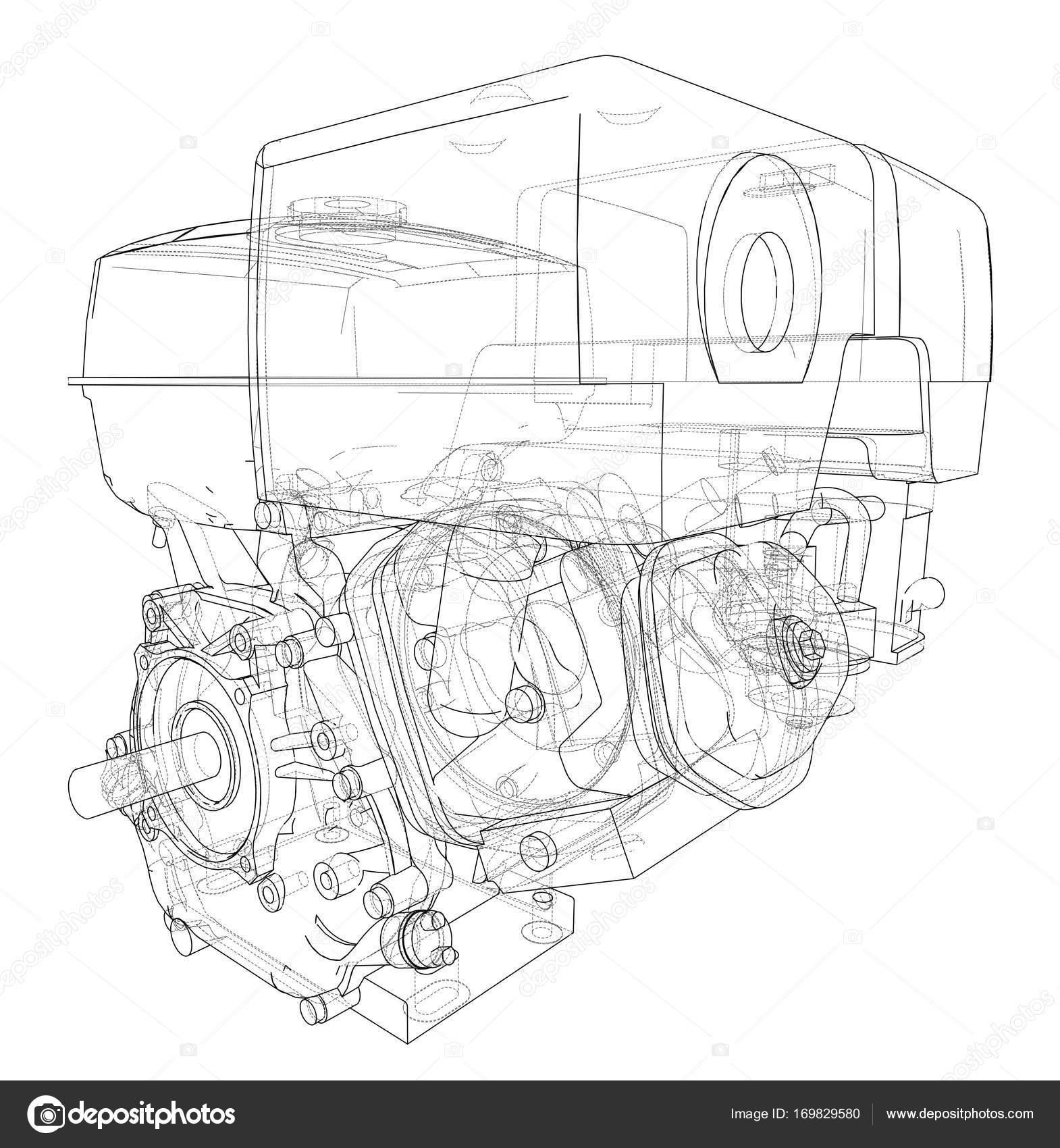 Motor-Skizze. Vektor — Stockvektor © cherezoff #169829580