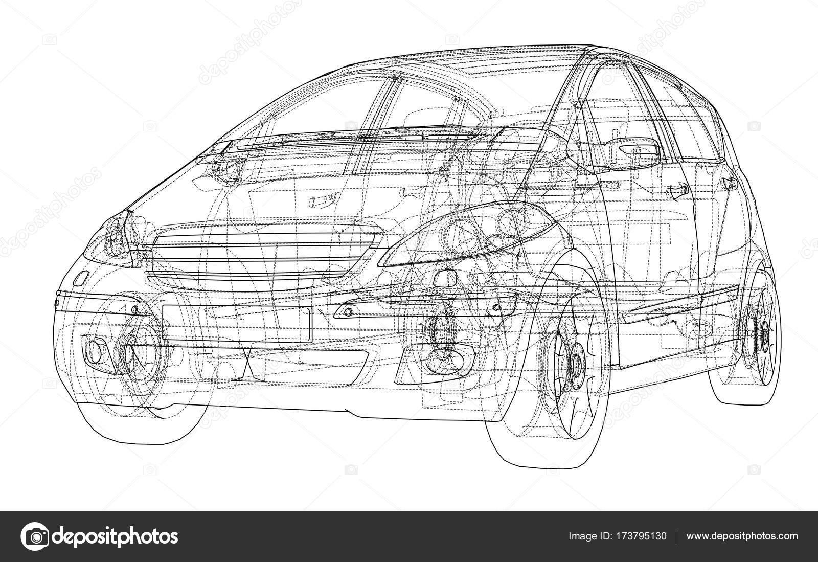 Auto-Skizze. Vektor — Stockvektor © cherezoff #173795130