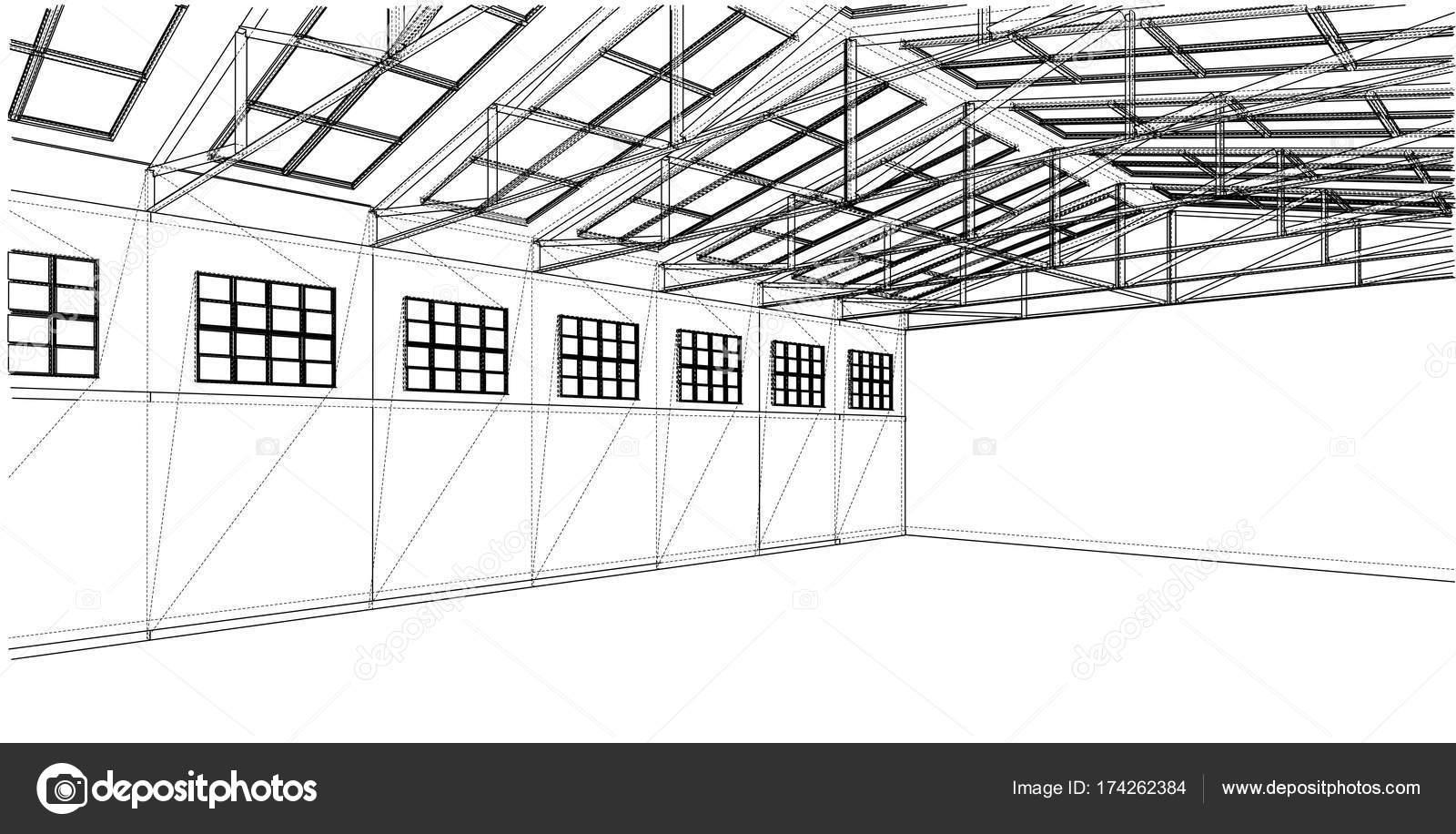 Warehouse sketch. Vector rendering of 3d — Stock Vector © cherezoff ...