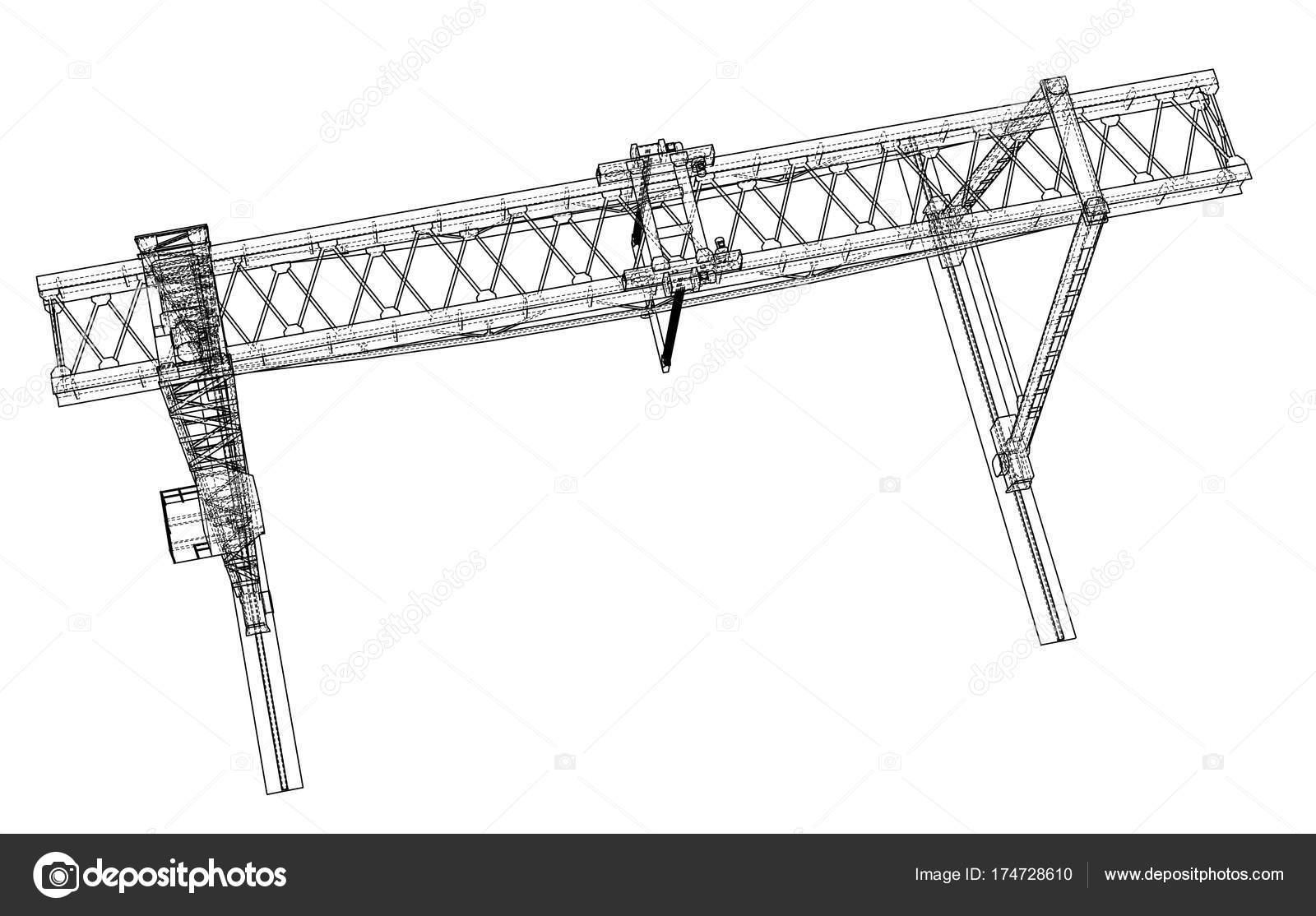 Grúa de pórtico. Marco de alambre. Eps10 formato del vector — Vector ...