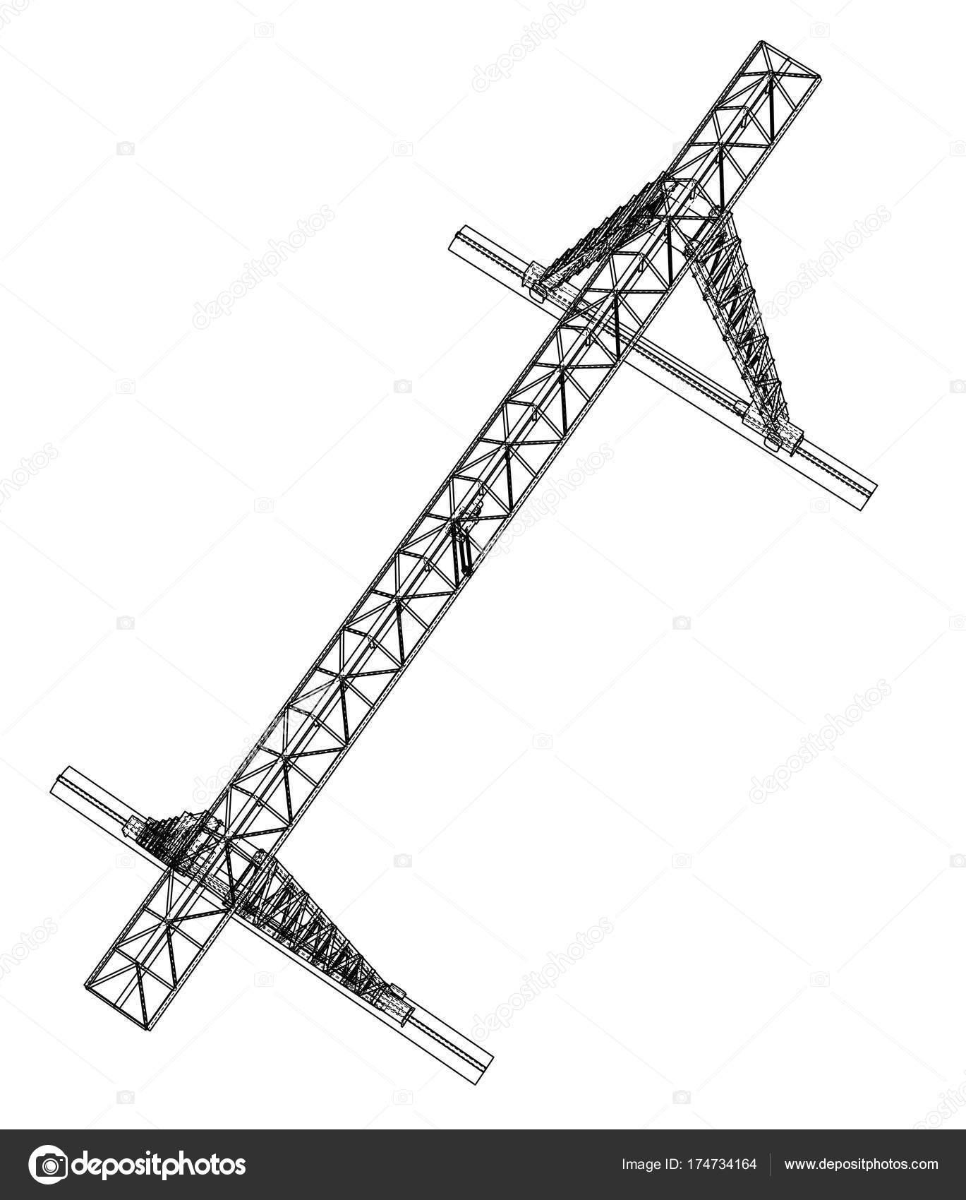 Grúa de pórtico. Marco de alambre. Eps10 formato del vector ...