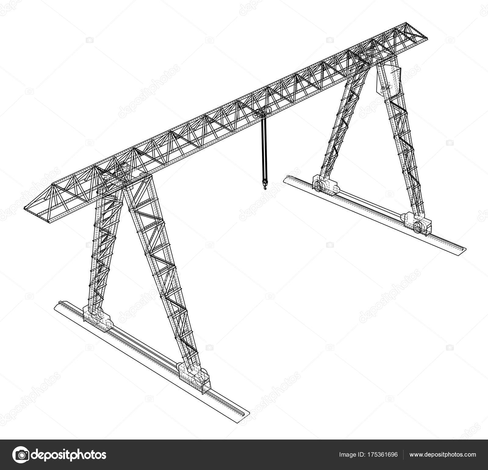 Gantry Crane Wire Frame Vector Eps10 Format Stock Overhead Wiring Along With Diagram Rendering Of 3d By Cherezoff