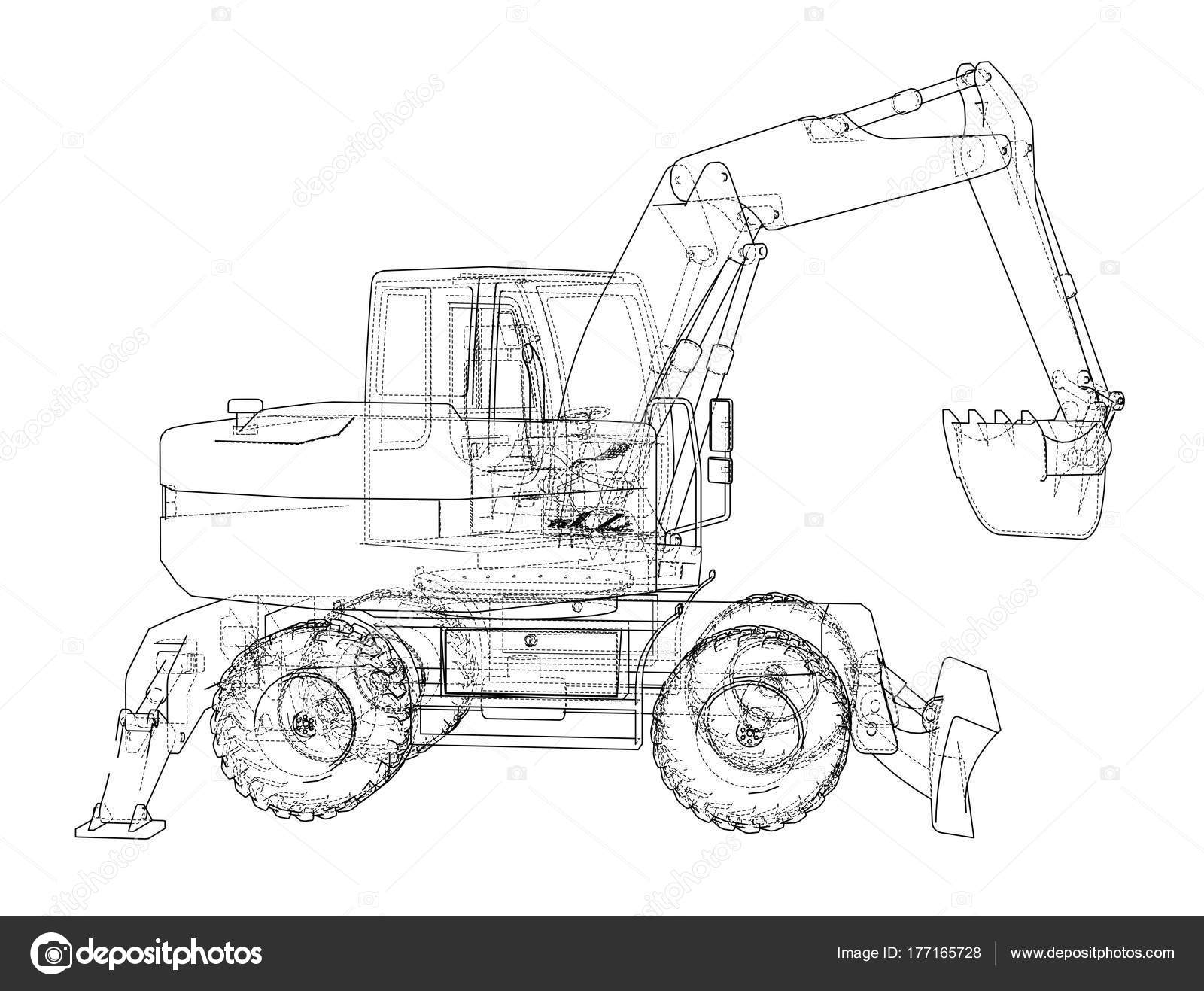 Outline Of Excavator Isolated On White Background Stock Vector