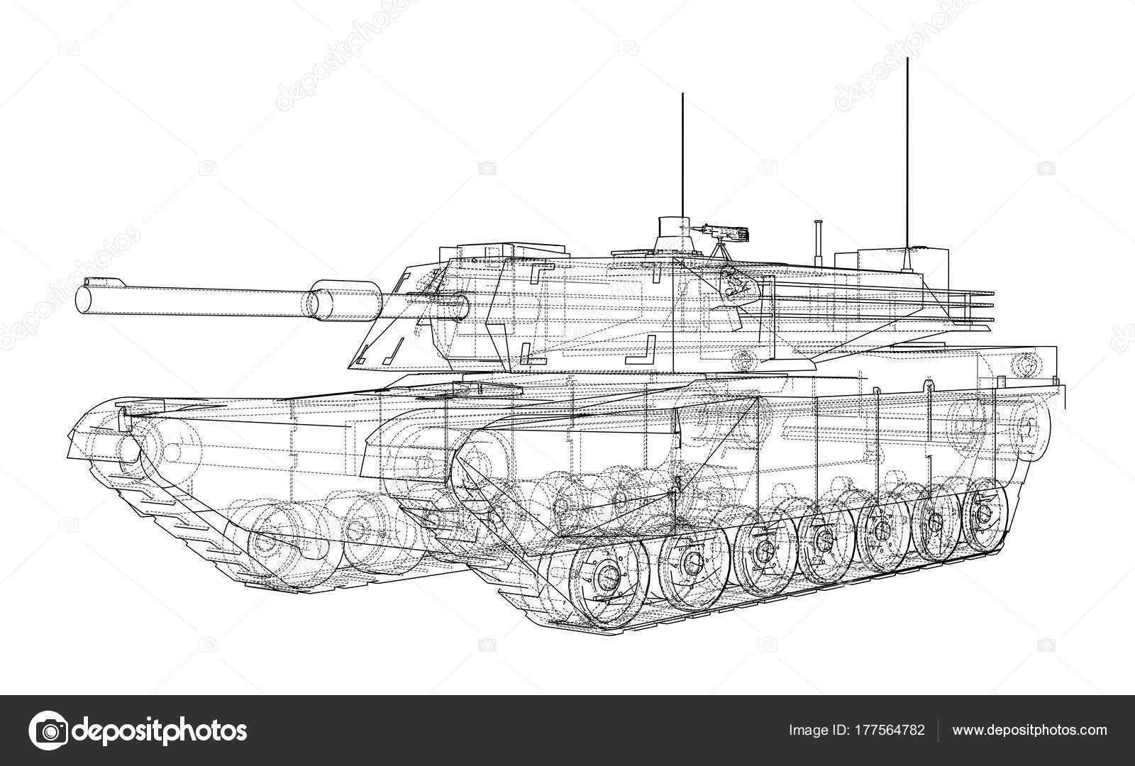 Blaupause des realistischen tank — Stockvektor © cherezoff #177564782