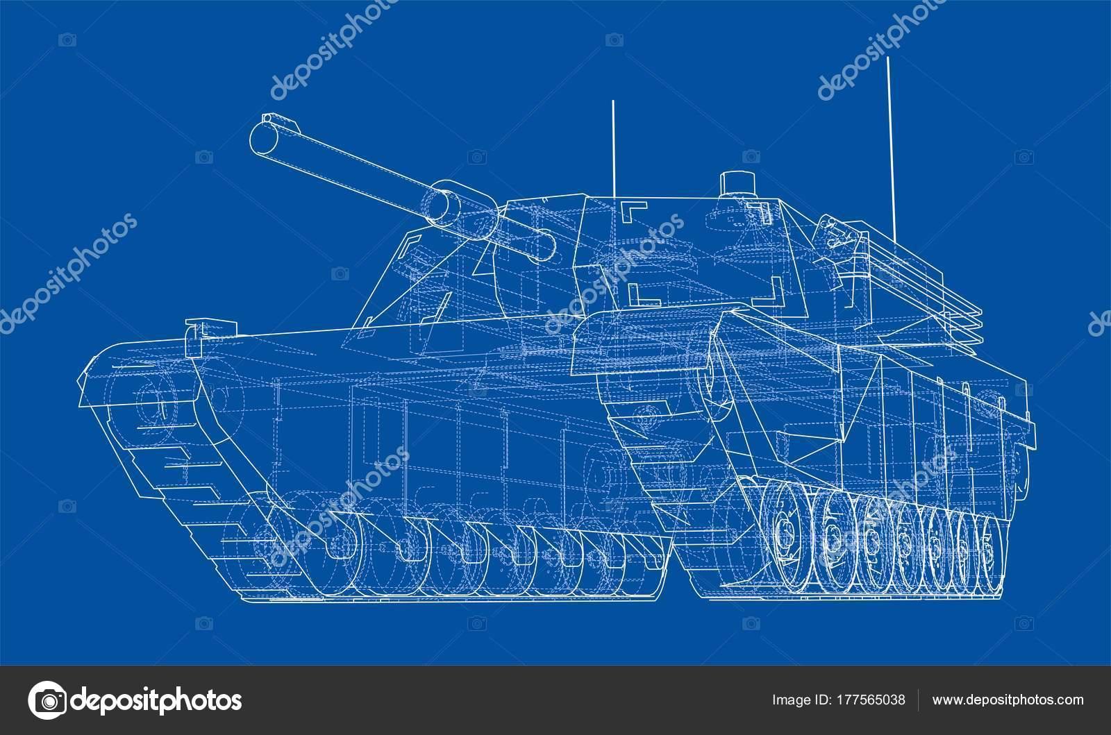 Blaupause des realistischen tank — Stockvektor © cherezoff #177565038