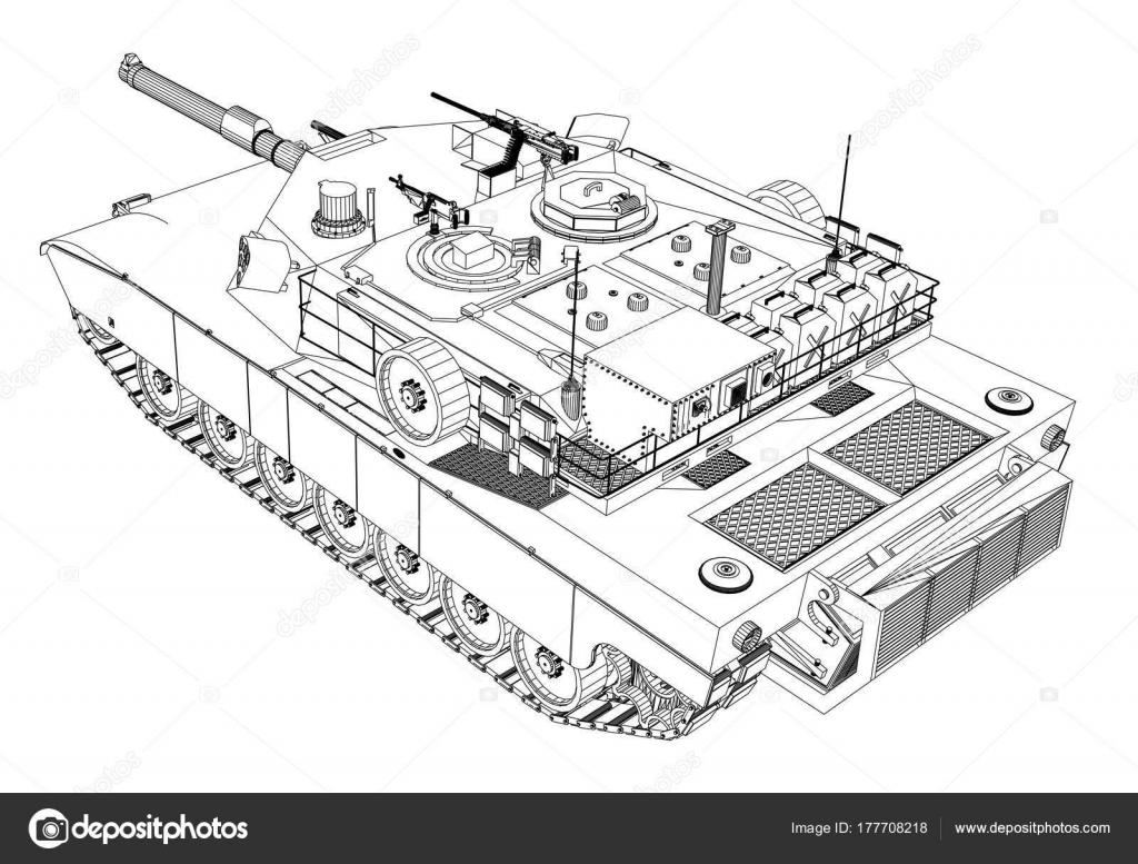 Blaupause des realistischen tank — Stockvektor © cherezoff #177708218