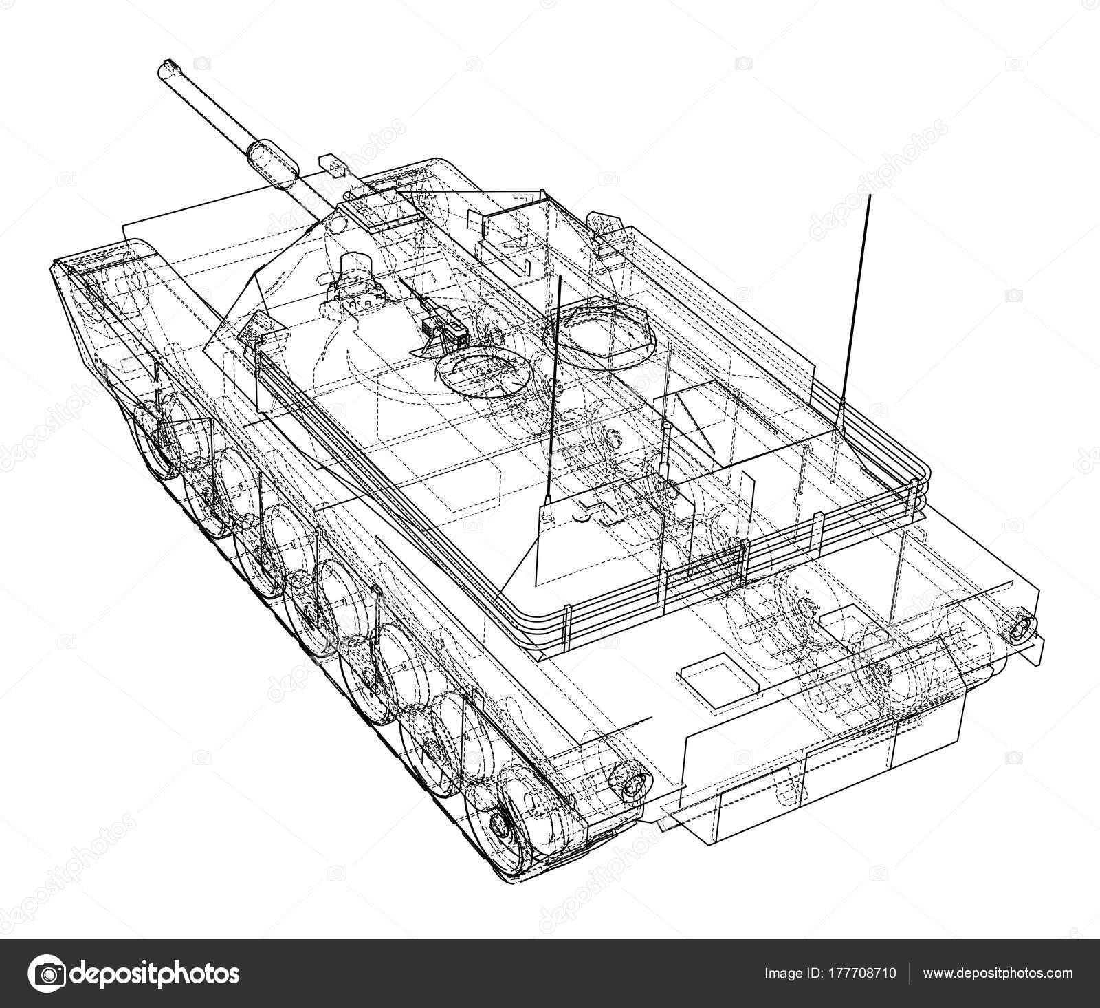 Blaupause des realistischen tank — Stockvektor © cherezoff #177708710