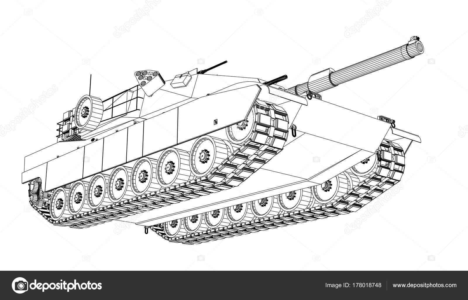 Blaupause des realistischen tank — Stockvektor © cherezoff #178018748