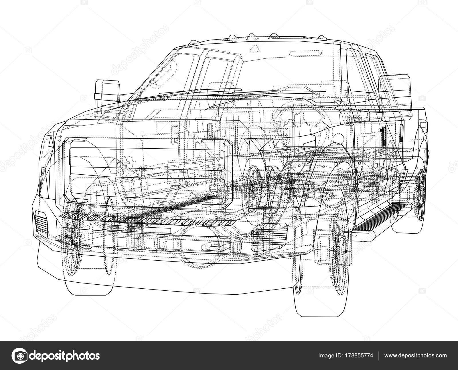 Auto Suv Zeichnung Umriss. Vektor — Stockvektor © cherezoff #178855774