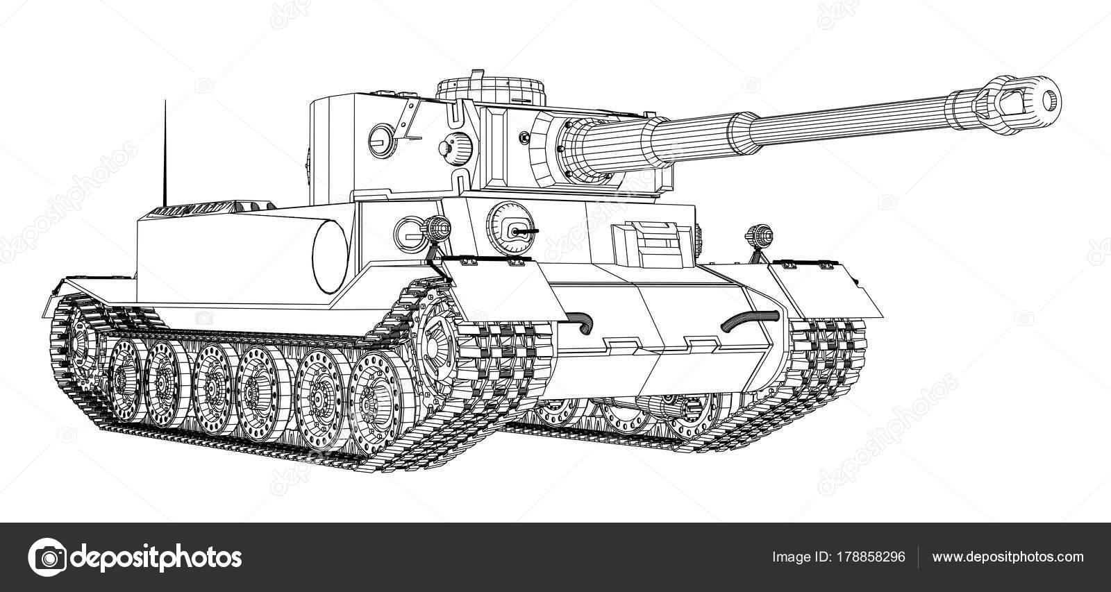 Blaupause des realistischen tank — Stockvektor © cherezoff #178858296