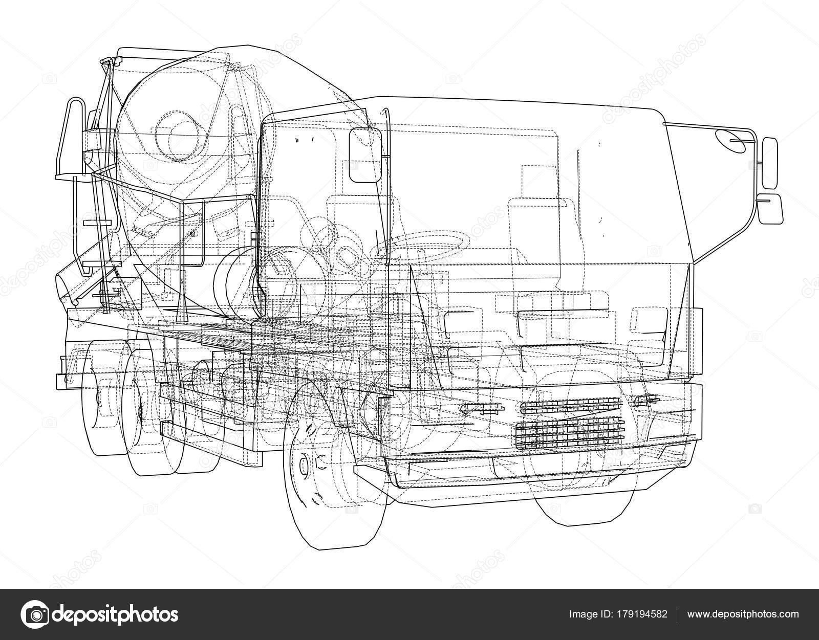 LKW-Mixer-Skizze. Vektor — Stockvektor © cherezoff #179194582