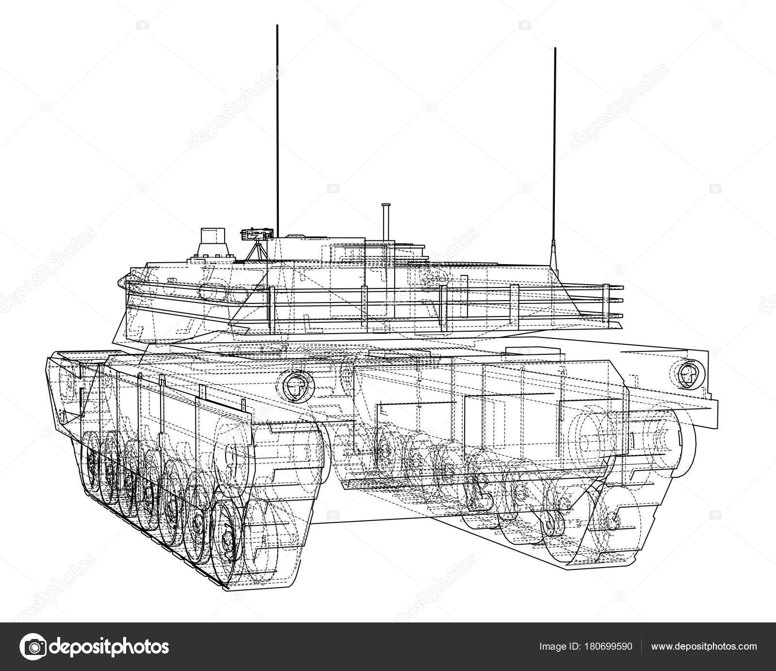 Blaupause des realistischen tank — Stockvektor © cherezoff #180699590