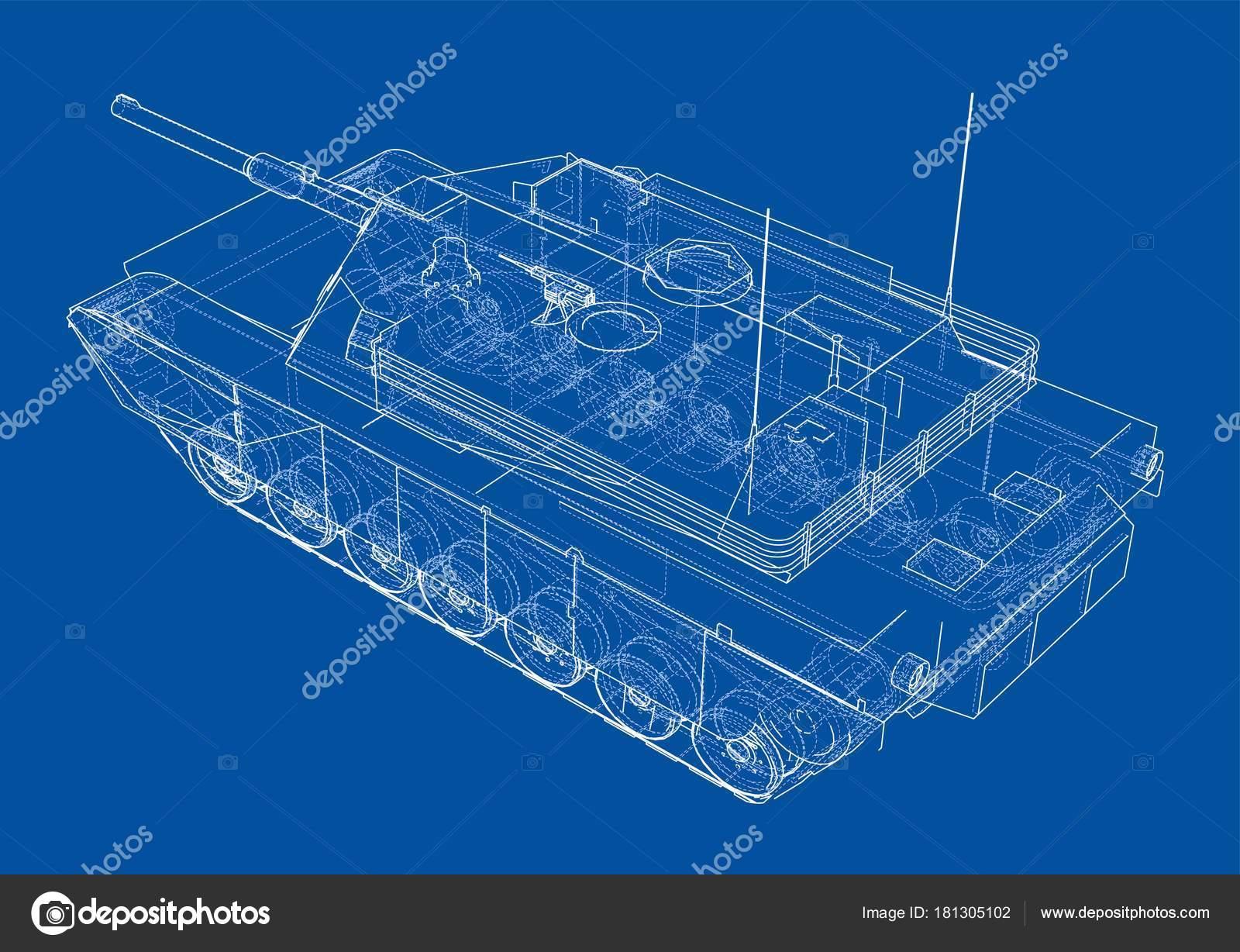 Blaupause des realistischen tank — Stockvektor © cherezoff #181305102