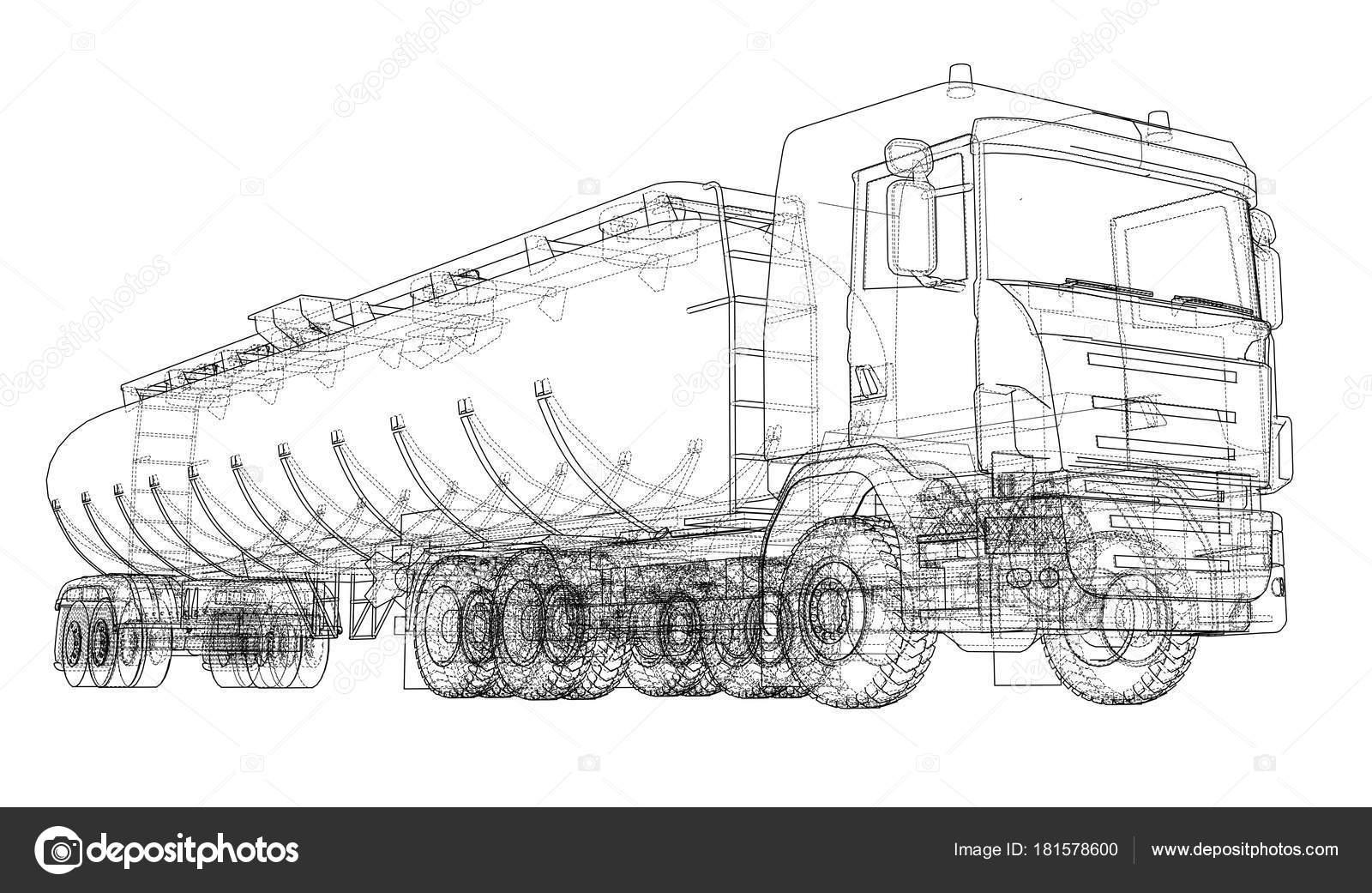 Öl-LKW-Skizze-Abbildung — Stockvektor © cherezoff #181578600