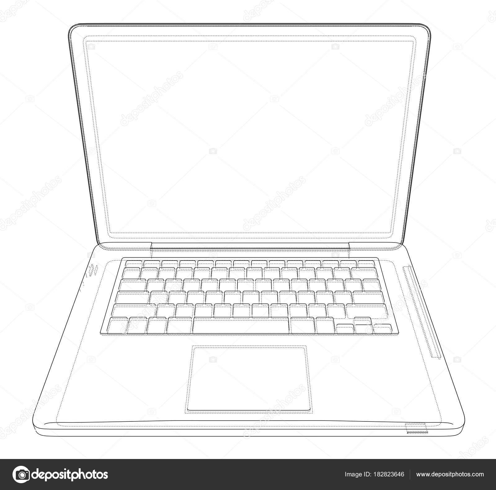 Esquisse De Dessin Ordinateur Portable Illustration Vectorielle