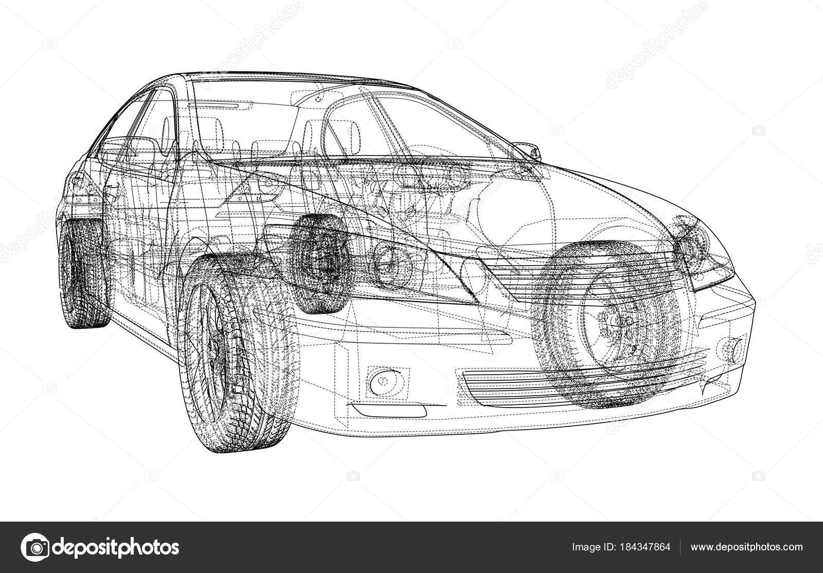 Auto-Skizze. Vektor — Stockvektor © cherezoff #184347864
