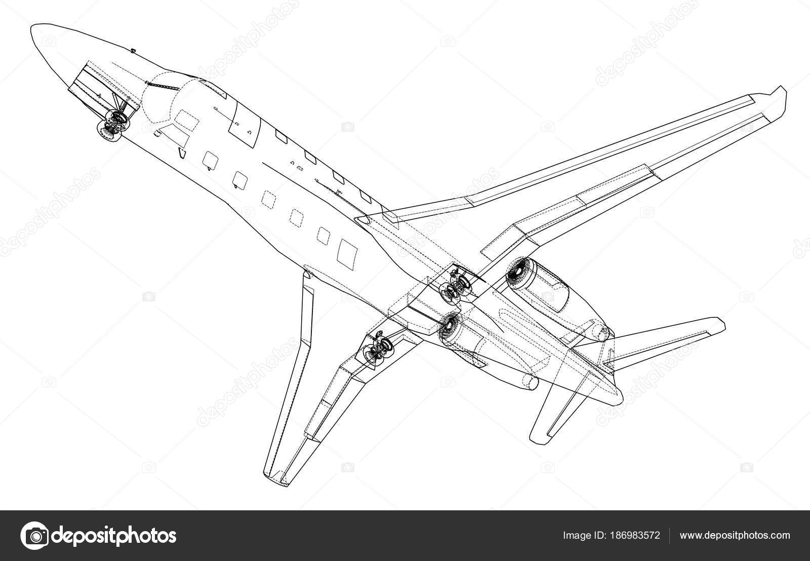 Airplane blueprint vector stock vector cherezoff 186983572 airplane blueprint vector illustration rendering of 3d vector by cherezoff malvernweather Image collections