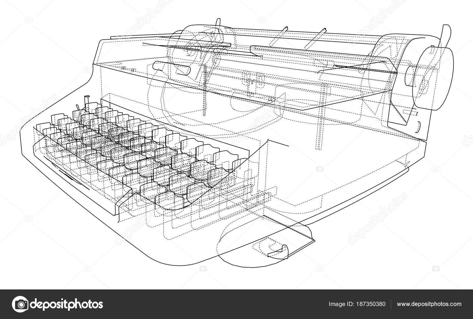 Concepto de máquina de escribir. Vector de — Vector de stock ...