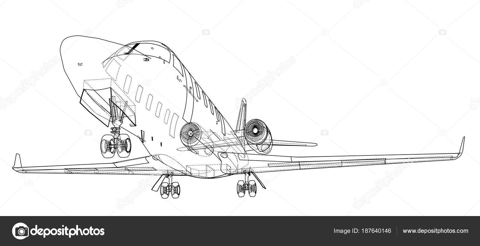 Airplane blueprint vector stock vector cherezoff 187640146 airplane blueprint vector illustration rendering of 3d vector by cherezoff malvernweather Images