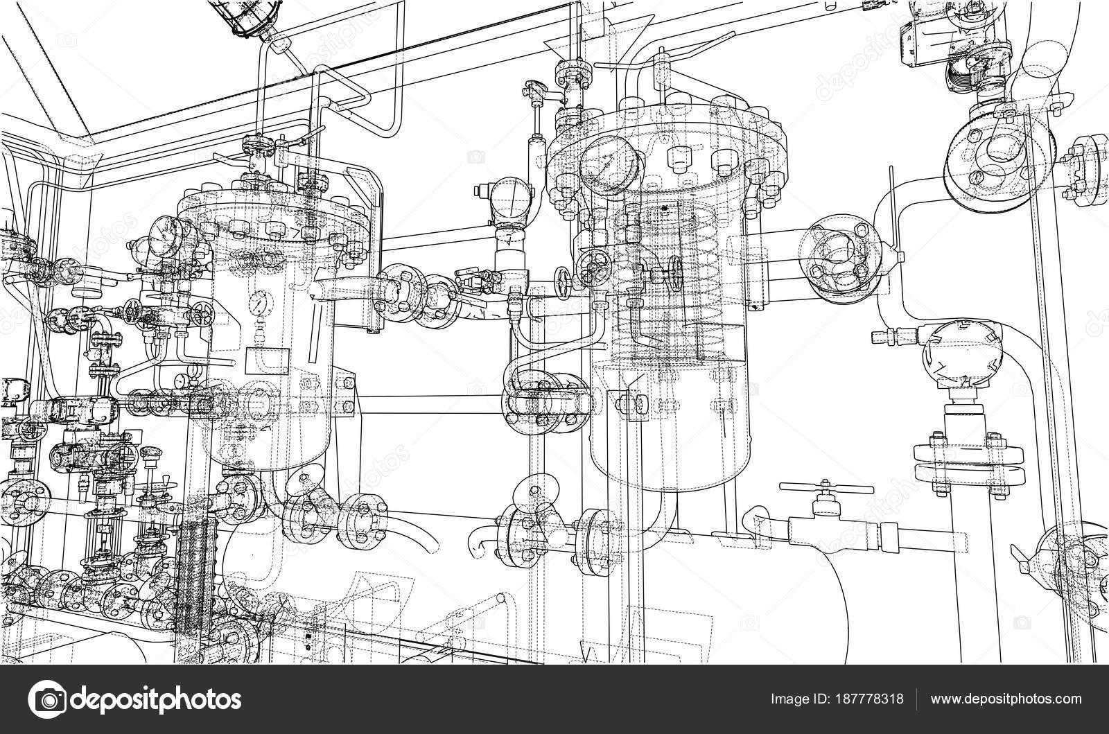 Sketch industrial equipment. Vector — Stock Vector © cherezoff ...