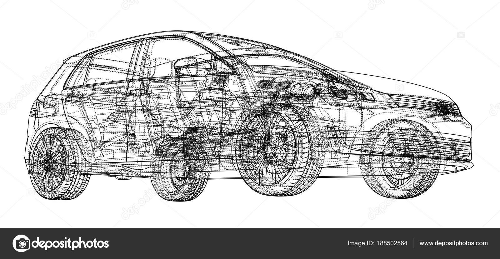 Car sketch. Vector — Stock Vector © cherezoff #188502564