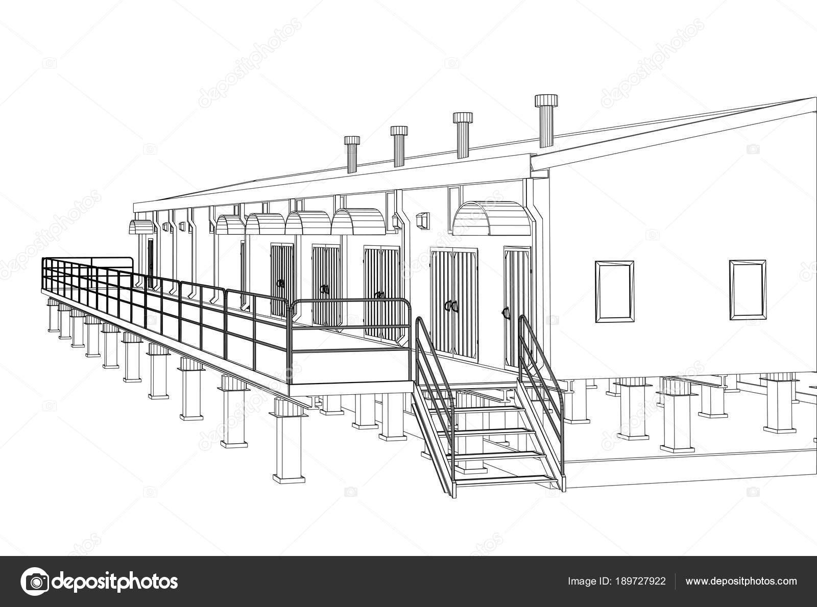 Edificio industrial de marco de alambre — Foto de stock © cherezoff ...