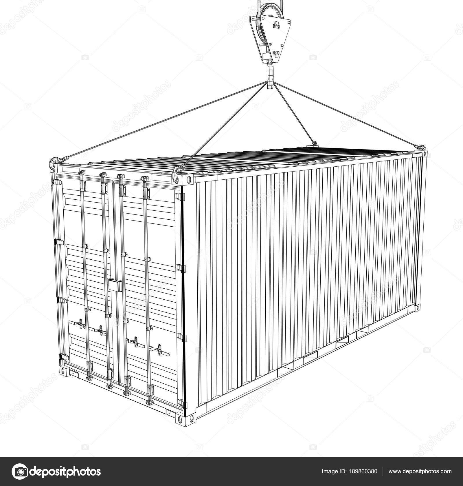 Contenedor de carga. Estilo de marco de alambre — Foto de stock ...