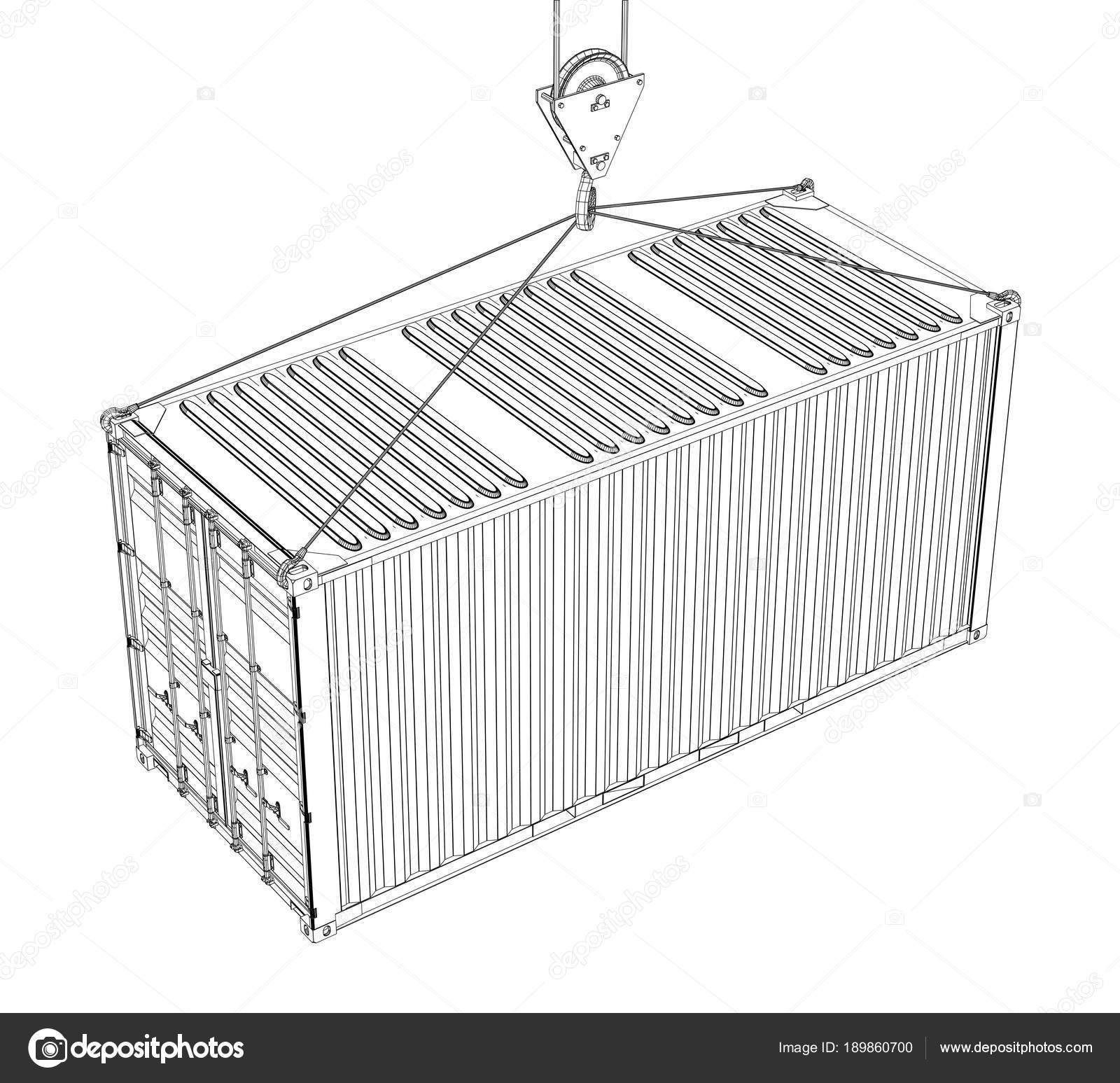 Contenedor de carga. Estilo de marco de alambre — Fotos de Stock ...
