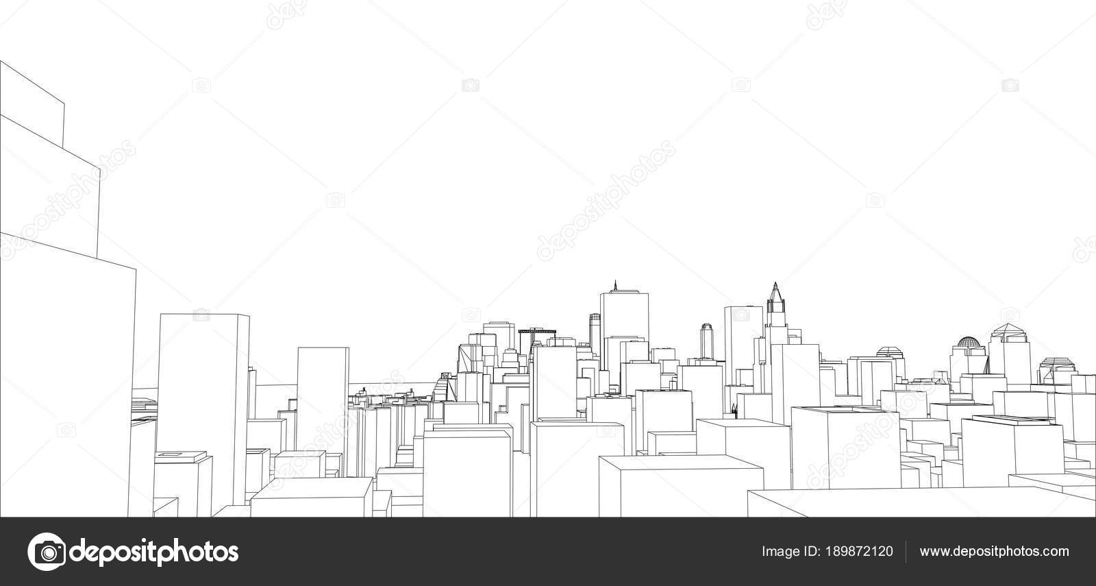 Wire-frame New York City, Blueprint Style — Stock Photo © cherezoff ...