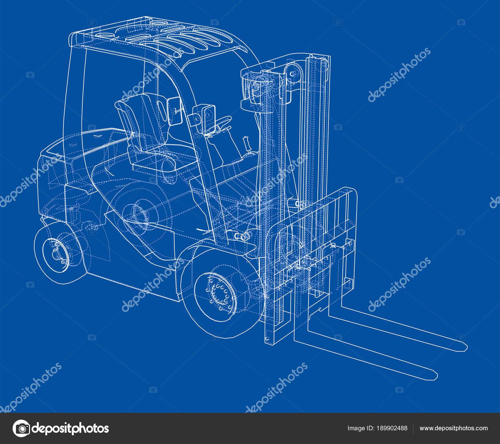 Concepto de la carretilla elevadora. Ilustración 3D — Foto de stock ...
