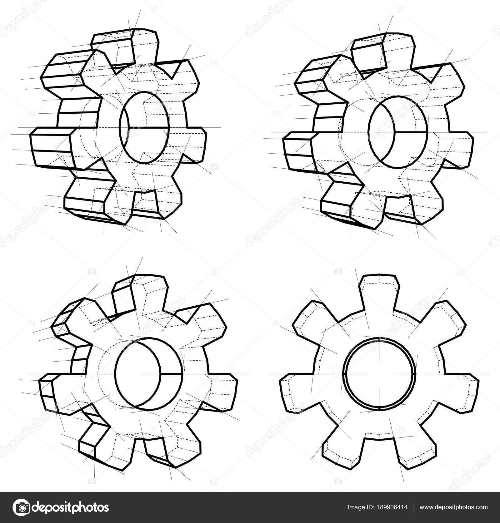 Cuatro engranajes de marco de alambre — Foto de stock © cherezoff ...