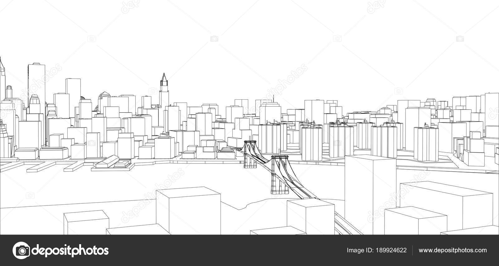 Wire frame new york city blueprint style stock photo cherezoff wire frame new york city blueprint style stock photo malvernweather