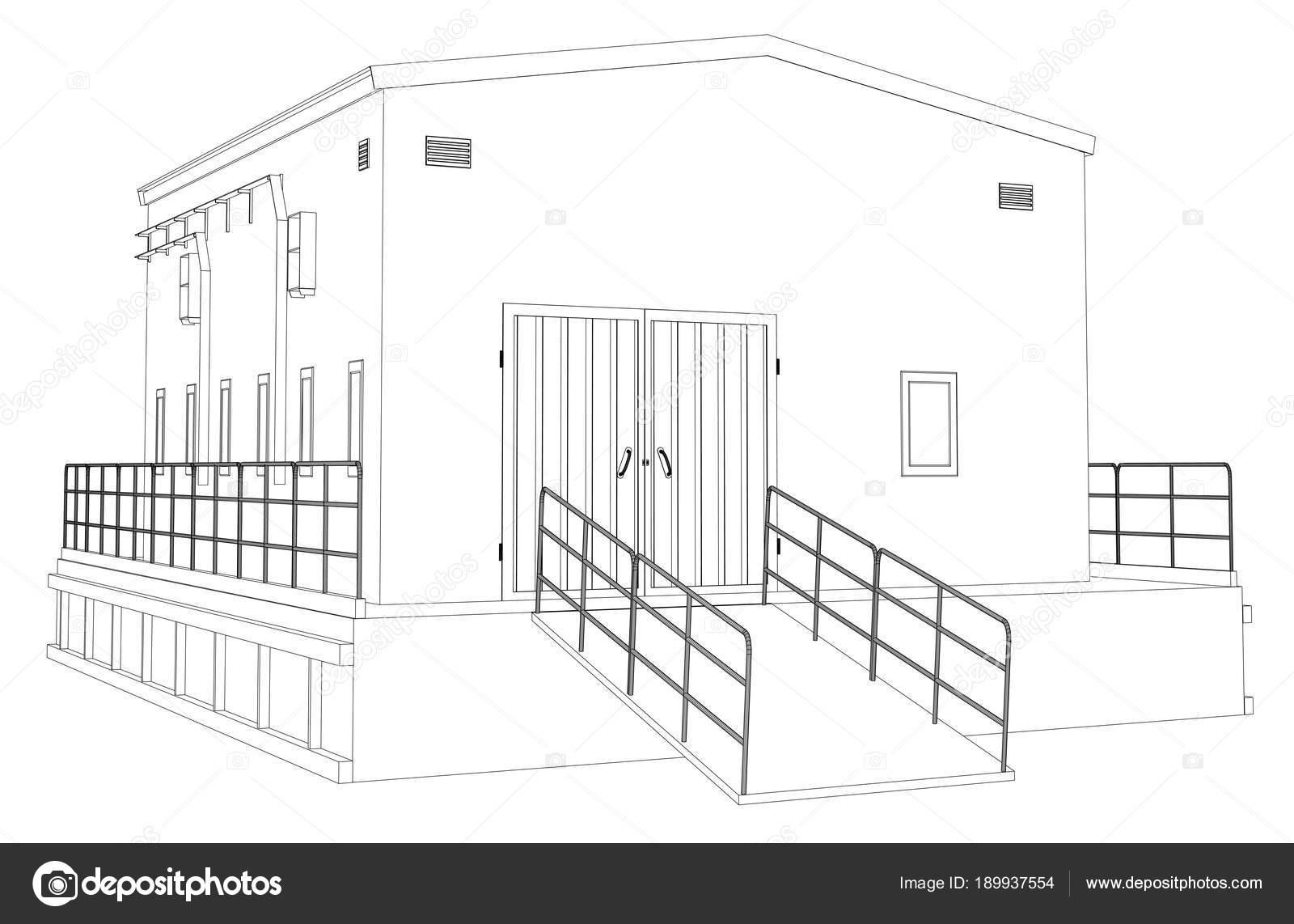 Edificio industrial de marco de alambre — Fotos de Stock © cherezoff ...