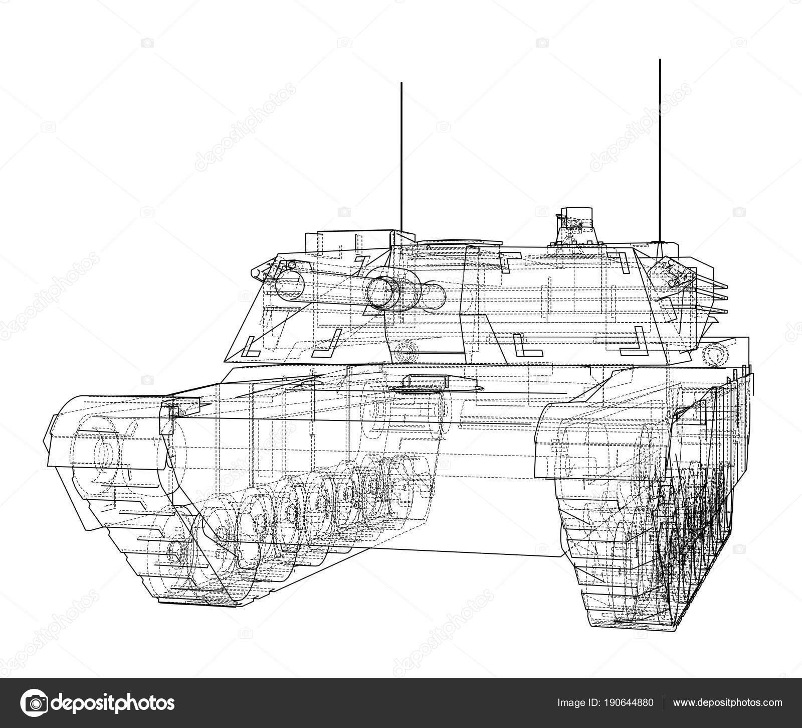 Blueprint of realistic tank stock photo cherezoff 190644880 blueprint or sketch of realistic tank 3d illustration photo by cherezoff malvernweather Choice Image