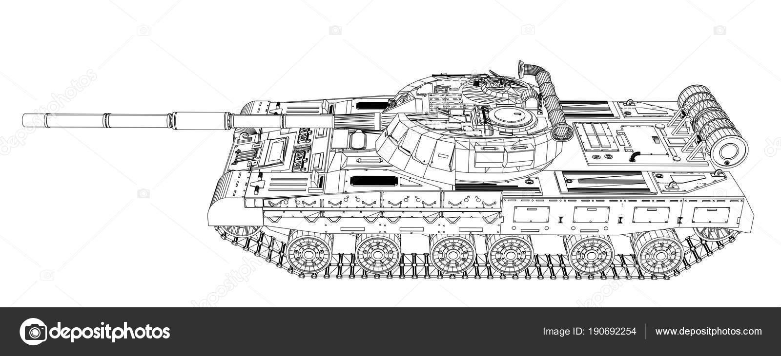 Blaupause des realistischen tank — Stockfoto © cherezoff #190692254