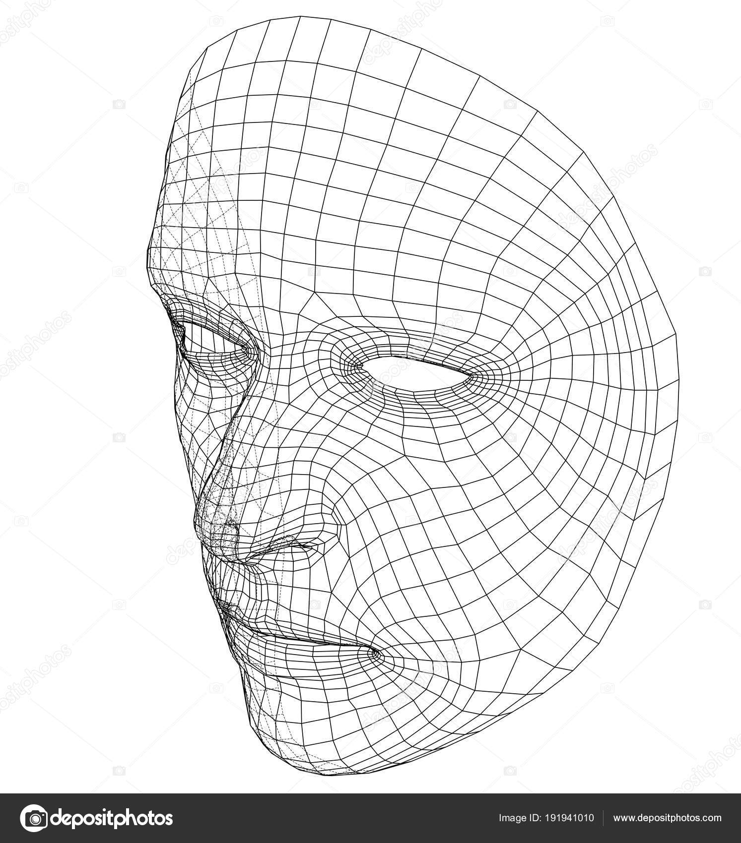 Wire-frame abstract human face — Stock Vector © cherezoff #191941010