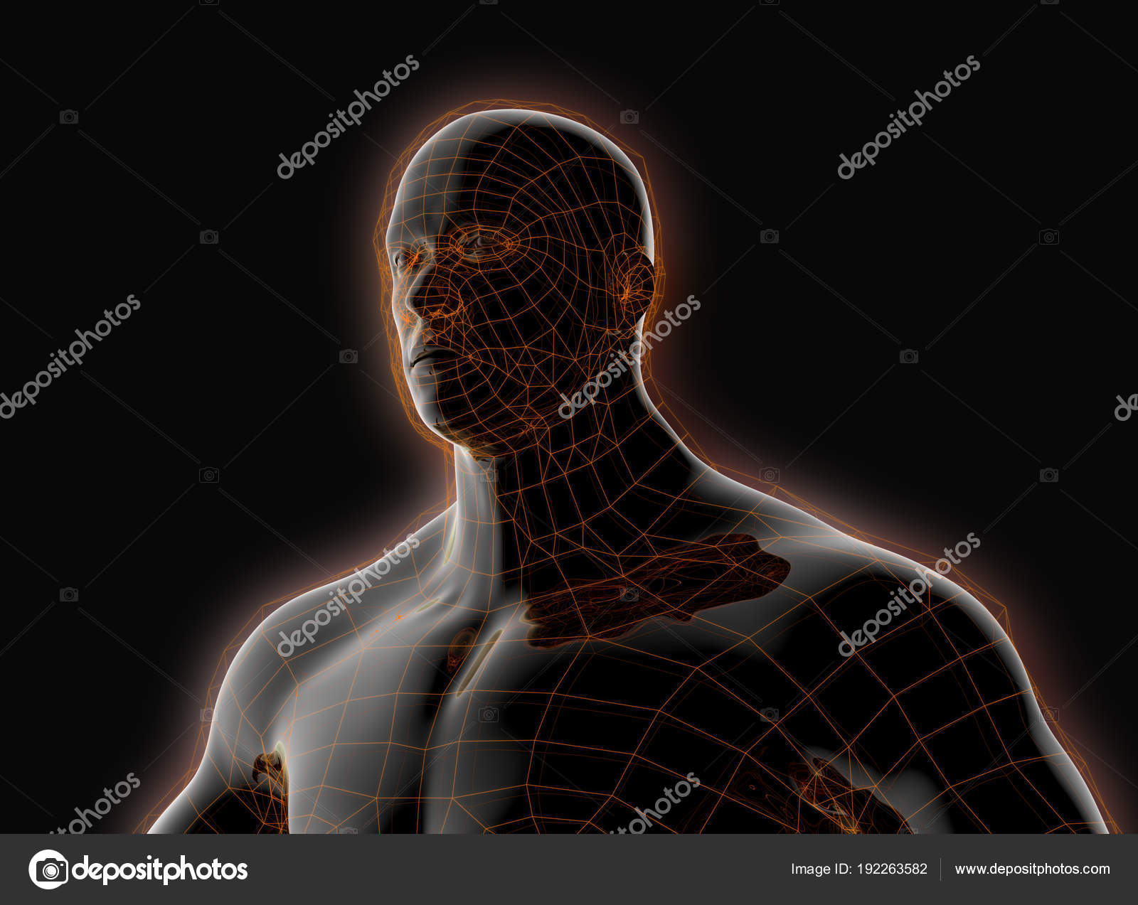 Schwarzer Kunststoff Roboter mit einem glühenden Frame Schale ...
